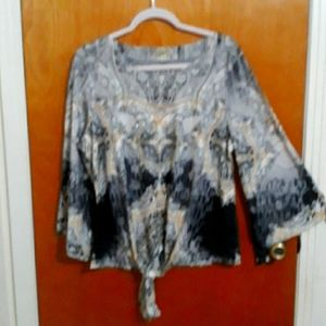Grey/Yellow bling front blouse XL